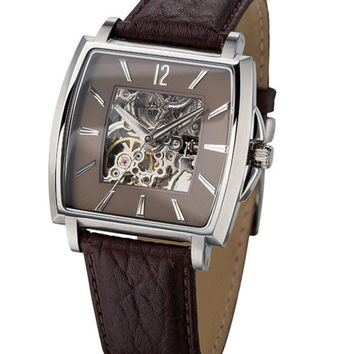 Kenneth Cole KC1452 Men's New York Brown Skeleton Dial Leather Strap Automatic Watch