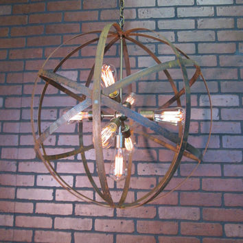 "Rustic Chandelier Wine Barrel Ring Light Orb Ceiling Light 24"" Sphere 7 Light Sputnik Black or Antique Gold Modern Contemporary Chandelier"
