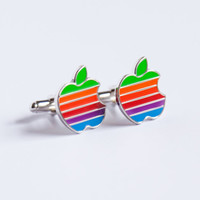 Apple Cufflinks retro multicolour