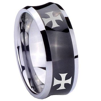 10mm 4 Maltese Cross Concave Black Tungsten Carbide Promise Ring