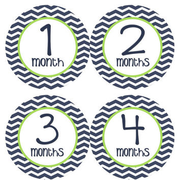 Monthly Onesuit Stickers Baby Month Stickers Baby Boy Navy Blue Green Chevron First Year Month Stickers Baby Shower Gift and Photo Prop Liam