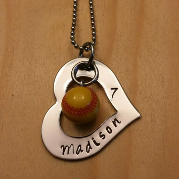 Hand Stamped Necklace Personalized Necklace Softball Mom or Girls Softball Necklace Heart