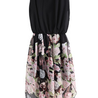 Black Sleeveless Contrast Vintage Floral Chiffon Dress - Sheinside.com
