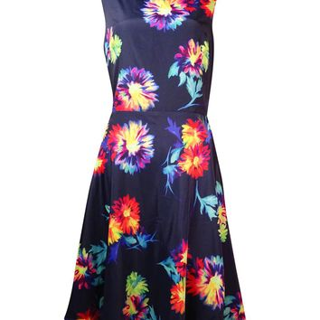Betsey Johnson Women's V-Back Floral Charmeuse Dress