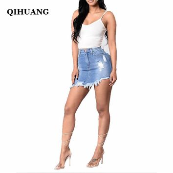QIHUANG Distressed Pencil Skirt Women Denim Skirt Mini Sexy Casual Summer Jeans Skirts Fashion New Ripped Pockets Bodycon Skirt
