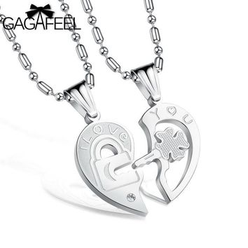 Fashion Stainless Steel Jewelry Men Lovers Pendant Necklace I love You Link Chain Lucky Clover