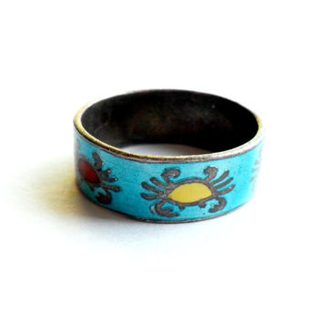 Vintage Siam Sterling Ring Enamel Crab Cancer Zodiac Size 5 Petite Small Blue Cigar Wide Band 925 Marked