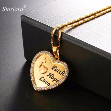 Starlord Engraved Heart Necklace With Bible Verse Faith&Hope&Love Gold/Silver Color Christian Jewelry Wedding/Gift P2653