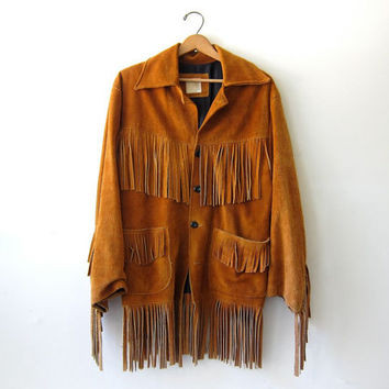 Vintage 60s Fringed Leather Coat. Bohemian Jacket. Southwestern Easy Rider Leather Jacket. Men's size 42.