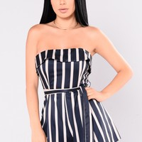 Mika Striped Romper - Navy