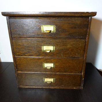 Vintage Wooden Flat File Cabinet - Rustic Farmhouse/Industrial Style