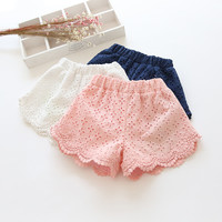 Baby girls Shorts Cotton Hollow Design Summer Children Shorts Pants Kids Shorts for Girls Clothes Toddler girl clothing L879