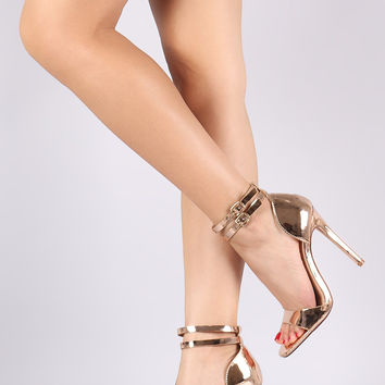 Mirror Metallic Double Ankle Strap Stiletto Heel | UrbanoG