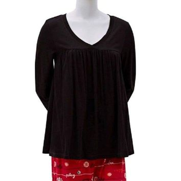 HUE Long Sleeve Modal Blend Solid V-Neck Swing Tee Sleep Top PJ31124 Small Medium