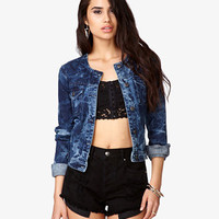 Bleached Collarless Denim Jacket