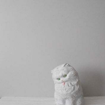 LARGE white ceramic cat figurine // handpainted // by simplychi