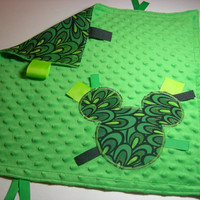 Green Peacock Mickey Mouse Embroidered Taggie Blanket