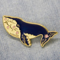Whale and Flowers Enamel Pin in Gold