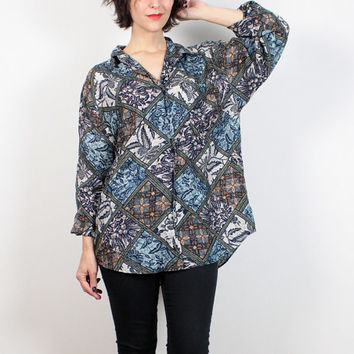 Vintage 80s Blouse Blue Paisley Oversized Shirt 1980s Silk Blouse Floral Draped Mixed Print Boyfriend Shirt Silk Shirt M L Extra Large XL