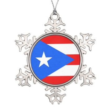 Snowflake Ornament with Puerto Rico Flag