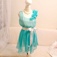 Mint Green Aqua Marie Antoinette chiffon flower Pedal shoulder tunic pleated chiffon dress