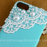 iphone 5 case, blue iphone 5 case, Romantic white lace and pearl trim Hard Case for iphone 5 case