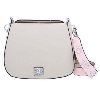 Catherine Malandrino Womens Mara Embellished Strap Faux Leather Saddle Handbag