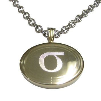 Gold Toned Etched Oval Greek Lowercase Letter Sigma Pendant Necklace