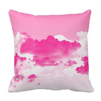 Pink Sky and Clouds Throw Pillow