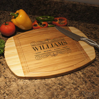 Design's Personalized Famly Monogram Bamboo Cutting Board with Family Monogram Design Options and Font Selection (Each)