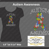Autism Awareness Women's Rhinestone T-Shirt