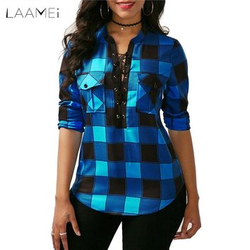Laamei 2018 Autumn 5XL Women Plaid Shirts Long Sleeve Blouses Shirt Office Lady Cotton Shirt Tunic Casual Tops Blusas V-neck Z30