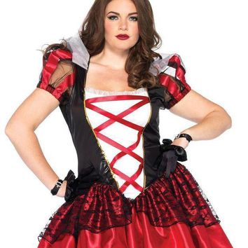 2pc.plus Size Royal Red Queen Satin Dress And Crown Headpiece In Black/red
