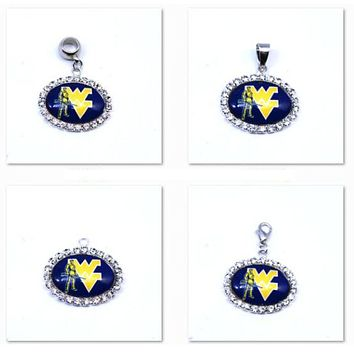 Pendant Charms Rhinestone NCAA West Virginia Mountainee Charms Basketball Sports Dangle Charms for Women Men Diy Jewelry Fashion