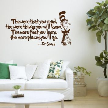 The more that you read... Mr.seuss vinyl quotes wall decal stickers