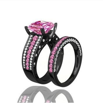 Daihe Turkish Engagement Wedding Couple Rings with Pink yeezy boost 350 black Black Go