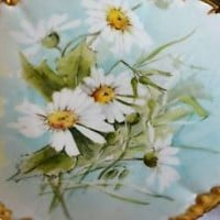 ANTIQUE Limoges France VTG Jean Pouyat Hand Painted Porcelain Plate Gold Gilt