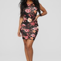 Explore More Tank Dress - Black Floral
