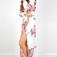 Chiffon V-Neck Floral Print Slit Maxi Dress  12188