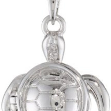 "Bronze and Fine Silver Plated Turtle Locket with ""Patience"" Hidden Message Pendant Necklace, 18"""