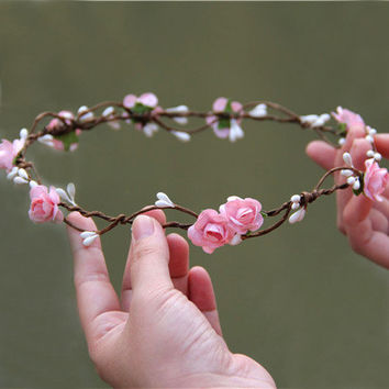 6pcs/lot Woman Flower Headband Rose Flower Crown Wedding Party Bridesmaid Hair Aaccessory Flower Garland Wreath