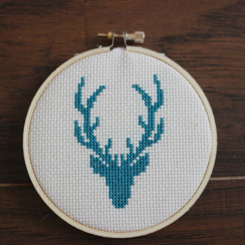 Modern Deer Head in Turquoise - Cross Stitch Hoop Wall Art