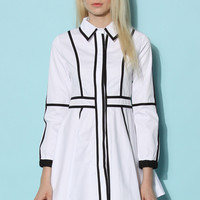 Contrast Paneled White Dress  White