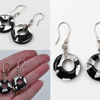 Vintage Italy 925 Sterling Silver & Black Art Glass Pierced Earrings, Circles, Donuts, Foiled, Chains, Dangle, Drop, Chunky #b929