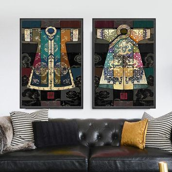 Chinese classical culture and the arts robes antique collage Canvas Wall Art Home Decoration  living room duvar tablolar picture