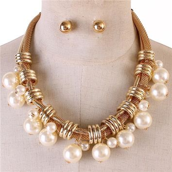 "18"" gold mesh faux pearl pendant necklace .50"" earrings statement chunky"