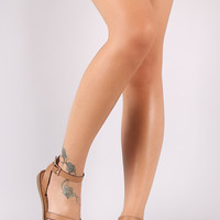 Bamboo Fisherman Cheetah Strap Peep Toe Sandals