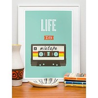 Life Is A Mixtape Retro Framed Print