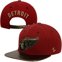 Zephyr Detroit Red Wings Copperhead Strapback Hat - Red/Gold