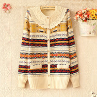 forever2you — SWEET HOOK FLOWER ROUND COLLAR COLOR LONG SLEEVE SWEATER KNITTED CARDIGAN